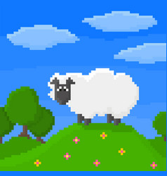 Cute pixel sheep is standing on a hill vector