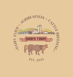 Dairy farm logo vector