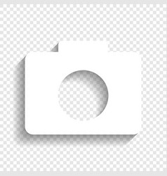 digital camera sign white icon with soft vector image