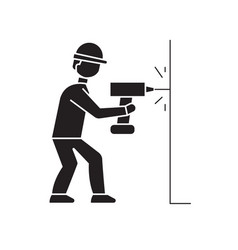 Drilling a hole in wall black concept icon vector