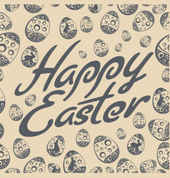 Easter lettering pattern grey vector