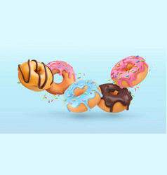 Falling glazed donuts with sprinkles 3d realistic vector