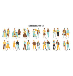 fashion history characters set vector image