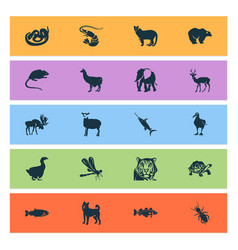 fauna icons set with snake puma dog and other vector image