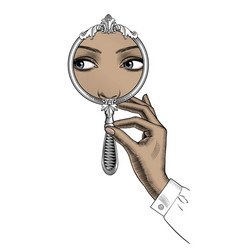 female hand holding a round decorative mirror vector image