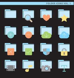 Flat folder icons vol 1 vector