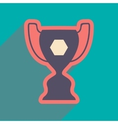 Flat icon with long shadow football cup vector