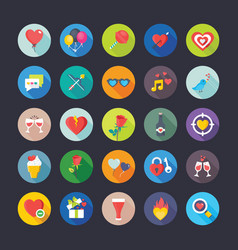 Flat icons set of love and valentine vector