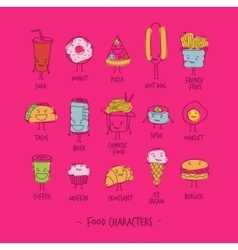 Food characters pink vector