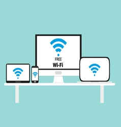 Free wi-fi multi platform device vector