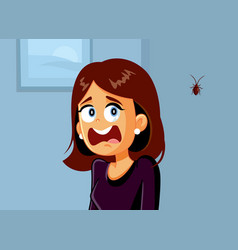 Funny woman screaming scared a cockroach vector