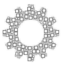 gear composition of contour square icons vector image