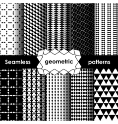 Geometric black and white Seamless Patterns Set vector