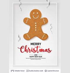 gingerbread man cookie and text on light banner vector image