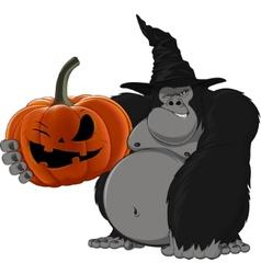 Gorilla with a pumpkin vector