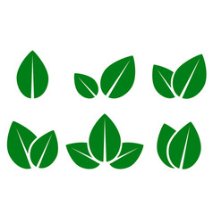 green leaf eco icons set vector image vector image