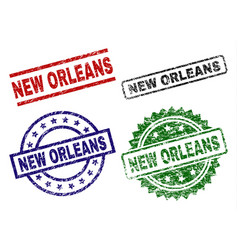Grunge textured new orleans stamp seals vector