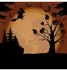 halloween landscape with witch and pumpkins vector image