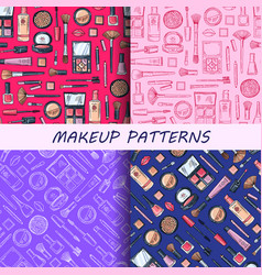 hand drawn makeup patterns set vector image