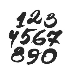 hand written calligraphy numbers vector image