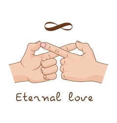 Hands making infinity symbol Eternal love and vector