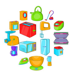 Household appliances icons set cartoon style vector
