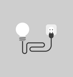 icon concept of ligh bulb with cable plug and vector image
