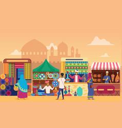 Indian street market at sunset flat vector
