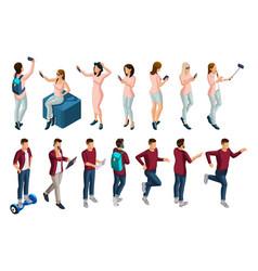isometrics set people 3d teenagers vector image