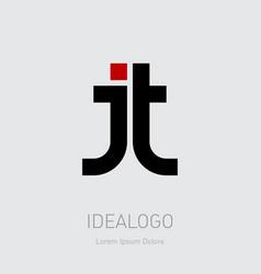 J and t initial logo jt initial monogram logotype vector
