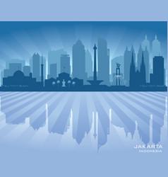 jakarta indonesia city skyline silhouette vector image