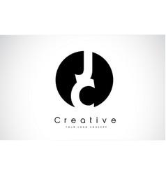 Jc letter logo design inside a black circle vector