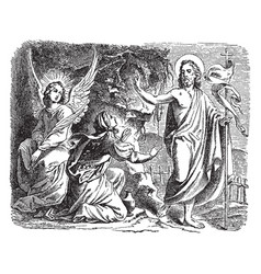 Jesus appears to mary magdalene outside the tomb vector