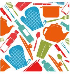 kitchen equipment pattern background vector image