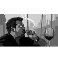 Man smoking a cigar vector