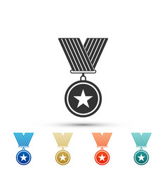 medal with star icon isolated on white background vector image