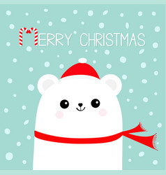 merry christmas candy cane polar white bear cub vector image