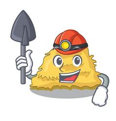 Miner hay bale mascot cartoon vector