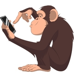 Monkey and smartphone vector