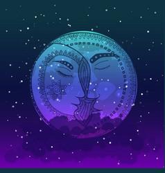 moon tangle pattern vector image