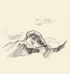 mountain logo style hand drawn vector image