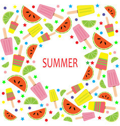 multicolored summer card with ice cream slices vector image