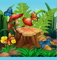 Nature scene with butterflies and mushroom vector
