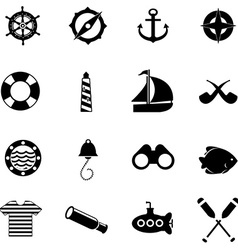 Nautical icons for web vector image