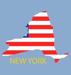 New york state of america with map flag print on vector