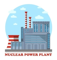 Nuclear power plant with cooling tower and chimney vector image