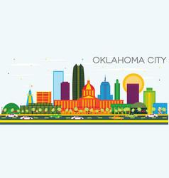 Oklahoma city skyline with color buildings vector