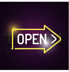 open neon arrow sign purple background imag vector image