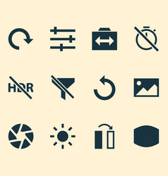 photo icons set with reload filtration wide vector image