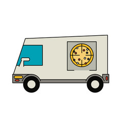 pizza delivery van vector image